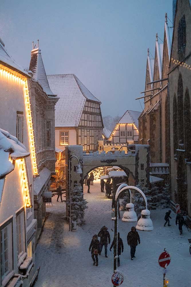 Weihnachtsmarkt Wiedenbrück im Schnee